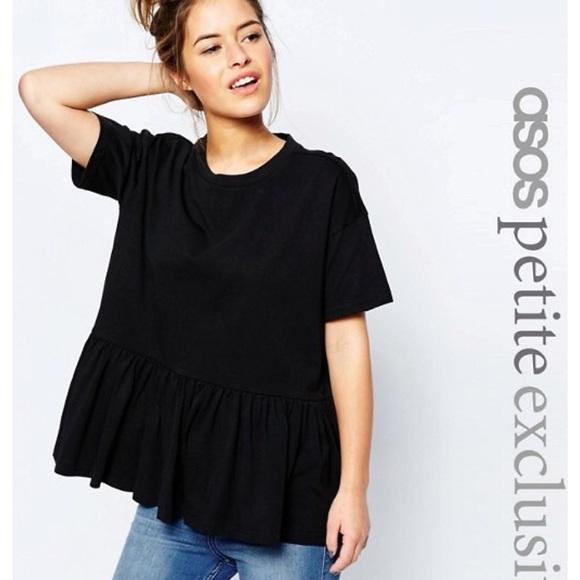 18ad2b0362047 ASOS Petite Tops - Topshop smock peplum t shirt black US12